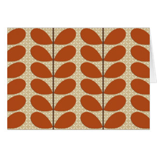 Mid Century Danish Leaves, Rust Brown and Beige Card