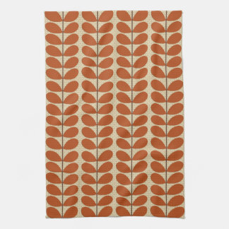 Mid Century Danish Leaves, Rust Brown and Beige Kitchen Towel