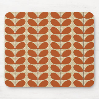 Mid Century Danish Leaves, Rust Brown and Beige Mouse Pad