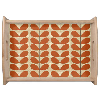 Mid Century Danish Leaves, Rust Brown and Beige Serving Tray