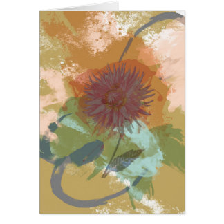 Mid Century Floral Abstract Blush Mint Green Gold Card