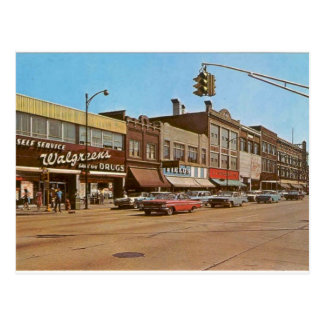 Mid-century Gary IN - 6th & Broadway Postcard