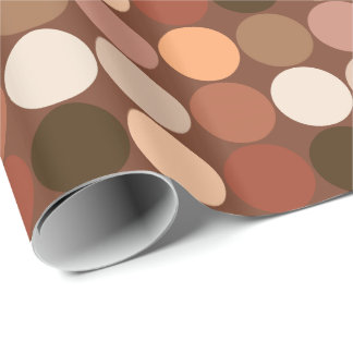 Mid-Century Giant Dots, Chocolate Brown & Tan Wrapping Paper