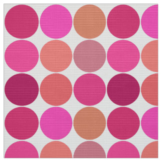 Mid-Century Giant Dots, Fuchsia Pink and Coral Fabric