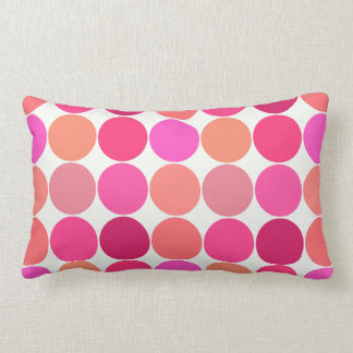 Mid-Century Giant Dots, Fuchsia Pink and Coral Lumbar Pillow