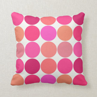 Mid-Century Giant Dots, Fuchsia Pink and Coral Throw Pillow
