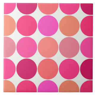 Mid-Century Giant Dots, Fuchsia Pink and Coral Tile