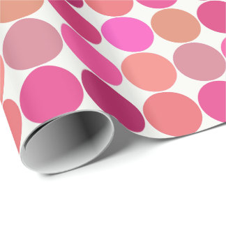 Mid-Century Giant Dots, Fuchsia Pink and Coral Wrapping Paper