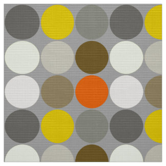 Mid-Century Giant Dots, Gray, Gold and Orange Fabric
