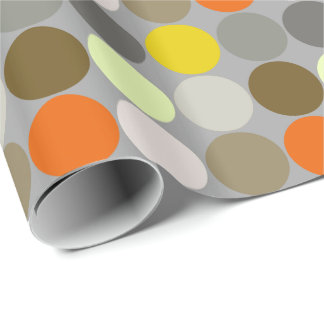 Mid-Century Giant Dots, Gray, Gold and Orange Wrapping Paper
