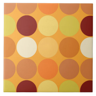 Mid-Century Giant Dots, Mustard Gold and Brown Tile