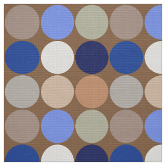 Mid-Century Giant Dots, Taupe, Beige and Blue Fabric