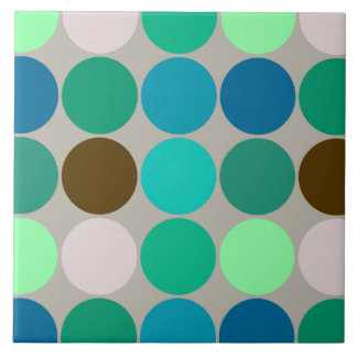 Mid-Century Giant Dots, Turquoise and Gray Tile