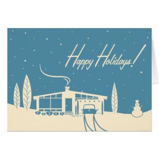 Mid-Century House Christmas Card: Blue Card