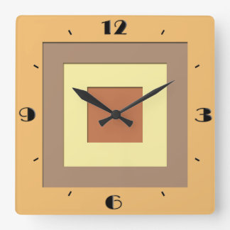 Mid-Century layered squares - Earth neutrals Square Wall Clock