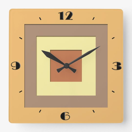 Mid-Century layered squares - Earth neutrals Wallclock