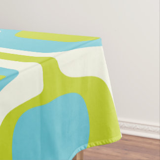 Mid-Century Lime and Aqua Ovals and Circles Tablecloth