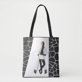 Mid Century Mod Black and White Mini Shirt Tote Bag