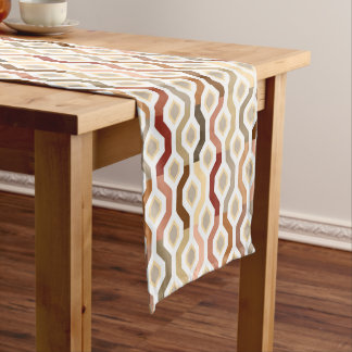 Mid Century Mod Geometric Pattern Autumn Short Table Runner