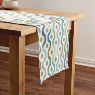 Mid Century Mod Geometric Pattern Blues Short Table Runner