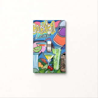 Mid Century Mod Tropical Tiki Lounge painting on a Light Switch Cover