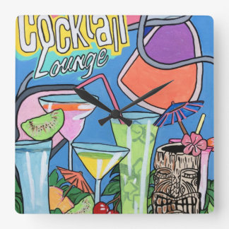 Mid Century Mod Tropical Tiki Lounge painting on a Square Wall Clock