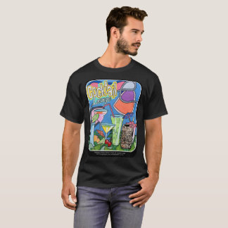 Mid Century Mod Tropical Tiki Lounge painting on a T-Shirt