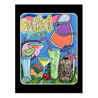 'Mid Century Mod Tropical Tiki Lounge' painting on Postcard
