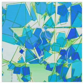 Mid-Century Modern Abstract, Aqua & Cerulean Blue Fabric