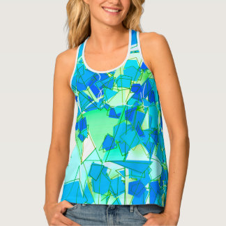 Mid-Century Modern Abstract, Aqua & Cerulean Blue Tank Top