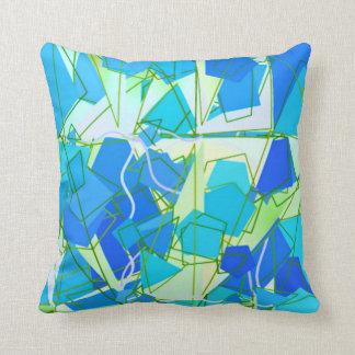 Mid-Century Modern Abstract, Aqua & Cerulean Blue Throw Pillow