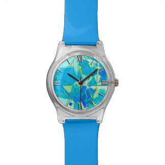 Mid-Century Modern Abstract, Aqua & Cerulean Blue Watch