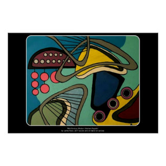 'Mid-Century Modern Abstract Aquatic' painting on Poster