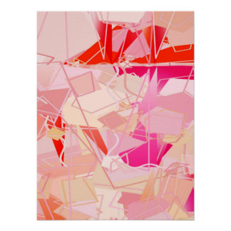 Mid-Century Modern Abstract, Coral Pink & Fuchsia Poster