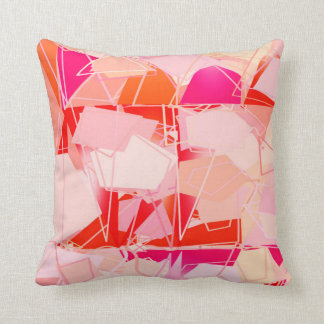 Mid-Century Modern Abstract, Coral Pink & Fuchsia Throw Pillow