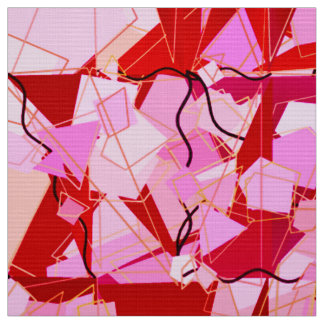 Mid-Century Modern Abstract, Dark Red and Pink Fabric