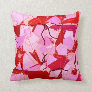 Mid-Century Modern Abstract, Dark Red and Pink Throw Pillow