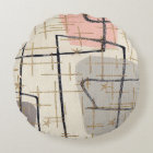 Mid Century Modern Abstract Fabric Round Pillow