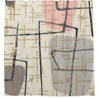 Mid Century Modern Abstract Fabric Shower Curtain