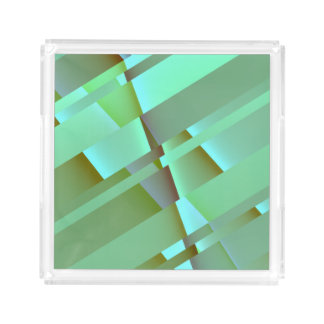 Mid Century Modern Abstract in Pastel Green Serving Tray
