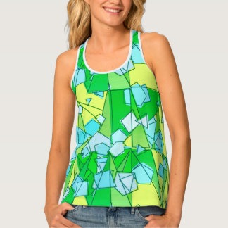 Mid-Century Modern Abstract, Lime Green and Yellow Tank Top
