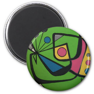 'Mid Century Modern Abstract num 4' on a 2 Inch Round Magnet