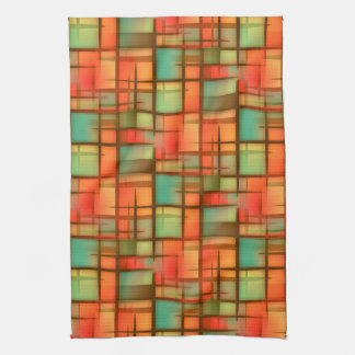 Mid Century Modern Abstract Plaid Blue Green Red Kitchen Towel