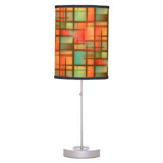 Mid Century Modern Abstract Plaid Blue Green Red Table Lamp