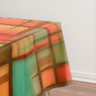 Mid Century Modern Abstract Plaid Blue Green Red Tablecloth