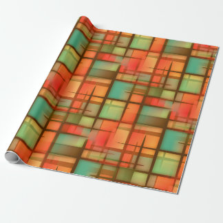 Mid Century Modern Abstract Plaid Blue Green Red Wrapping Paper