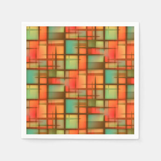 Mid Century Modern Abstract Plaid Red Blue Green Paper Napkins