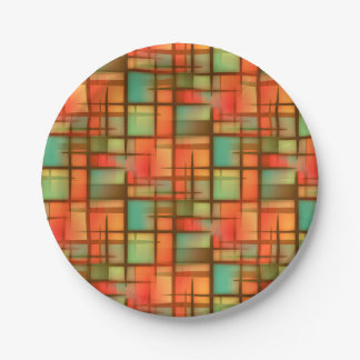 Mid Century Modern Abstract Plaid Red Blue Green Paper Plate