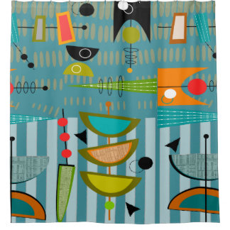 Mid-Century Modern Abstract Shapes Blue