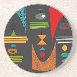 Mid-Century Modern Abstract Tiki Tok Coaster